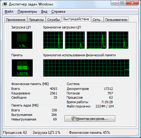 Окно диспетчера задач 64-битной ОС