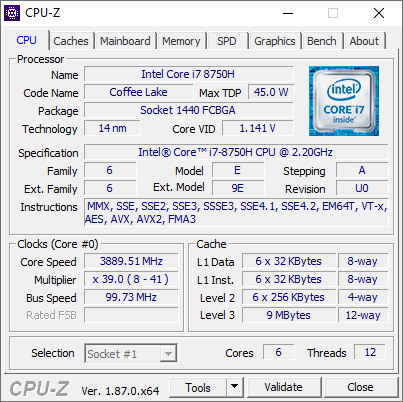 CPU-Z Acer Predator Helios 500