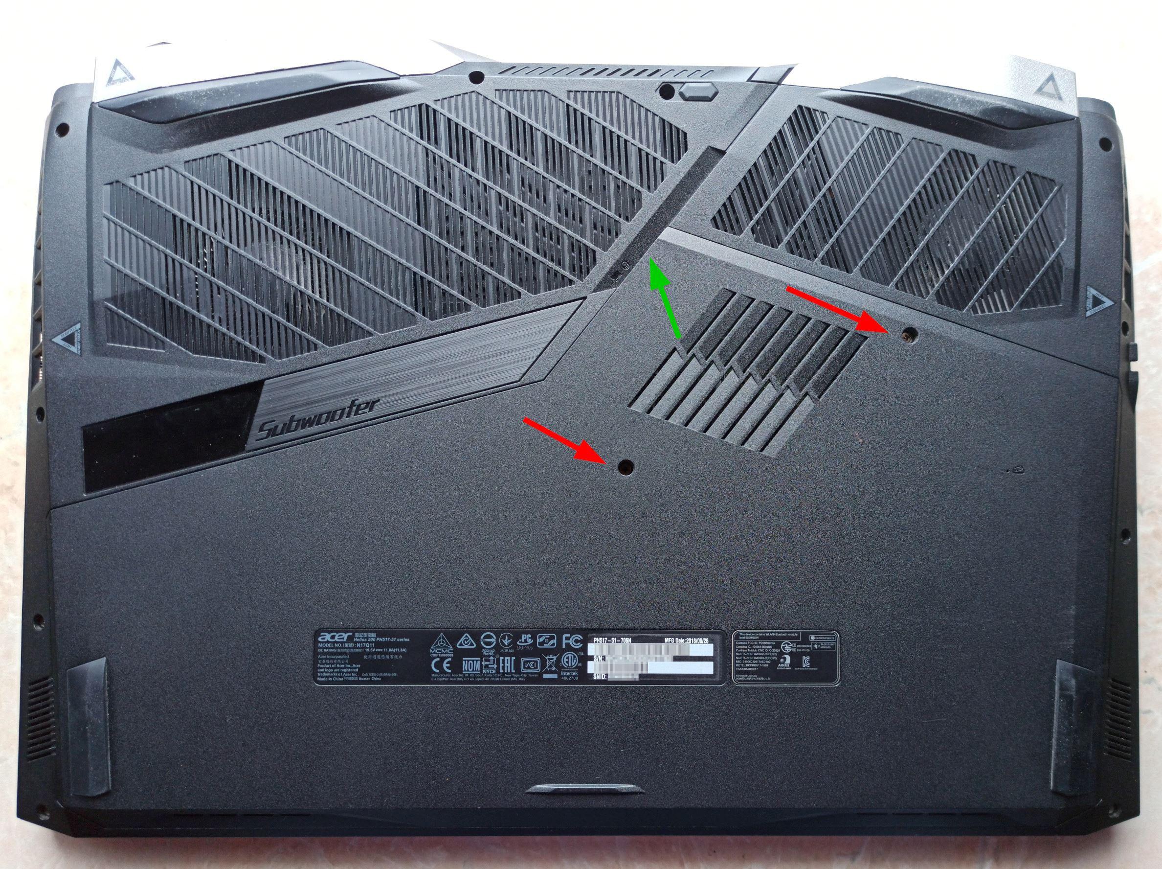 Разборка Acer Predator Helios 500