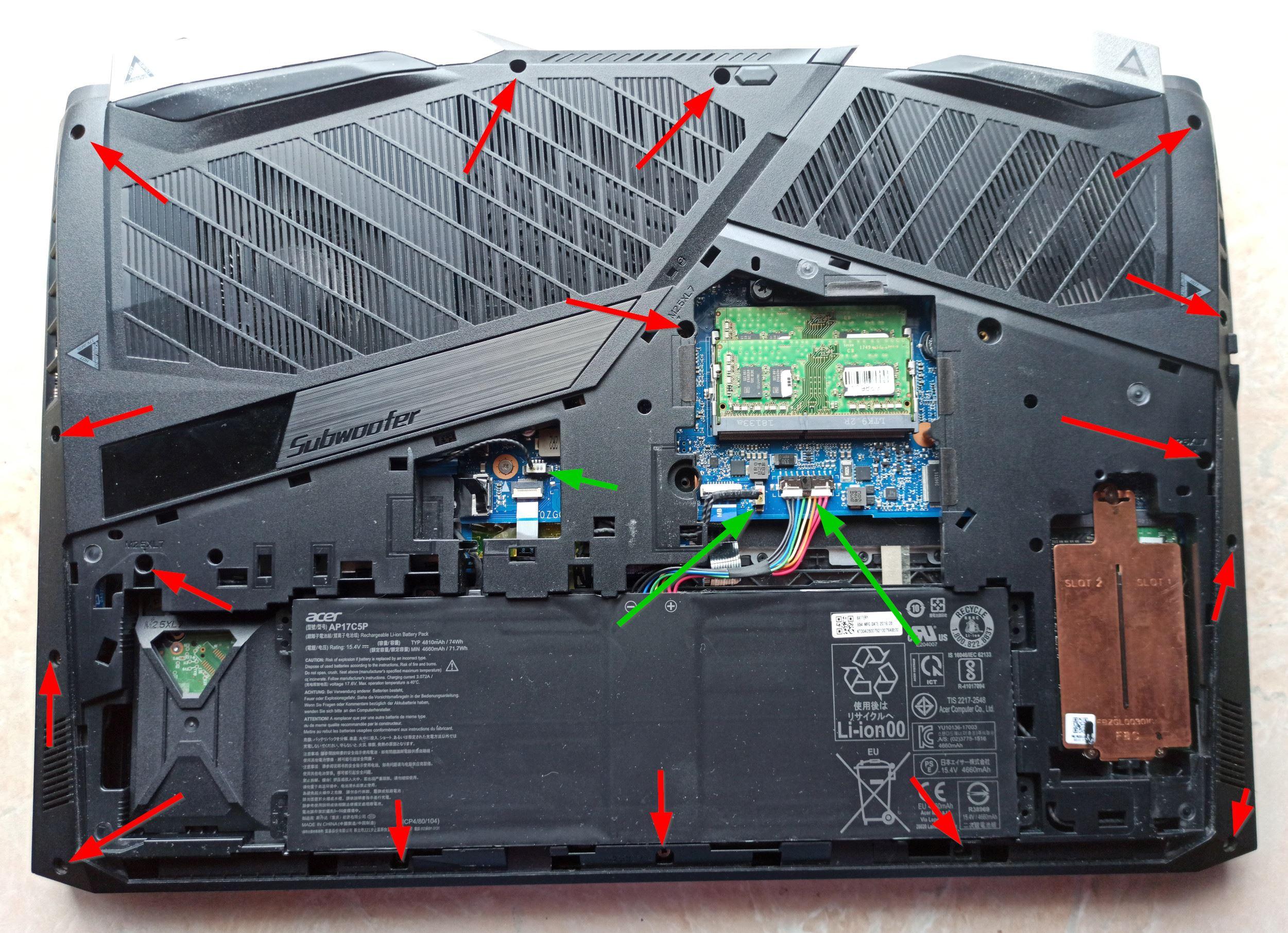 Разборка Acer Predator Helios